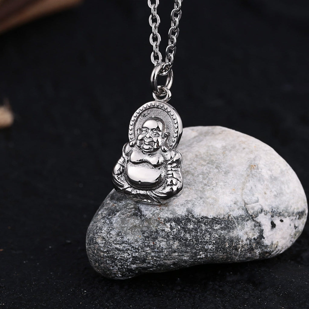 Chain Necklace for Men Stainless Steel Big Big Buddha Religious