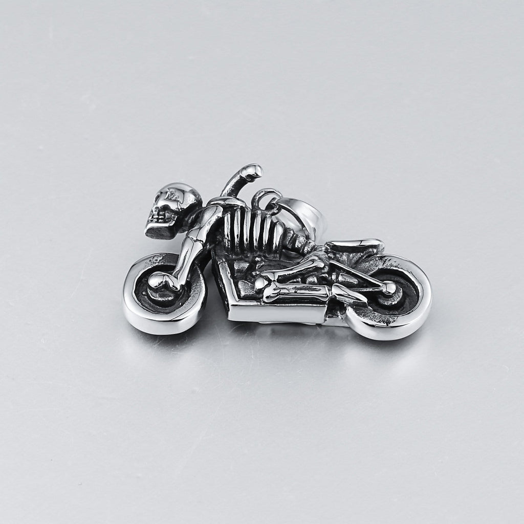 Pendant Necklace for Men Stainless Steel Silver Skull Motorcycle
