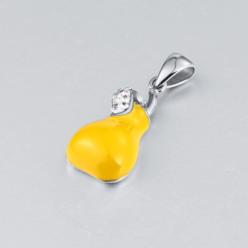 Chain Necklace for Men Stainless Steel Yellow Pear Cubic Zirconia