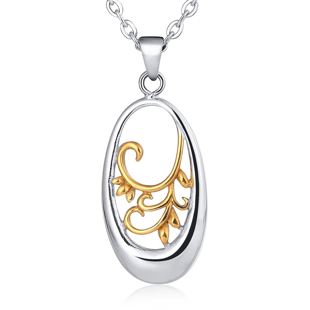 Pendant Necklace for Men Stainless Steel Silver Oval Leaf