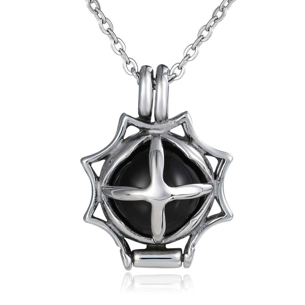Pendant Necklace for Men Stainless Steel Black Cross Ball Bead