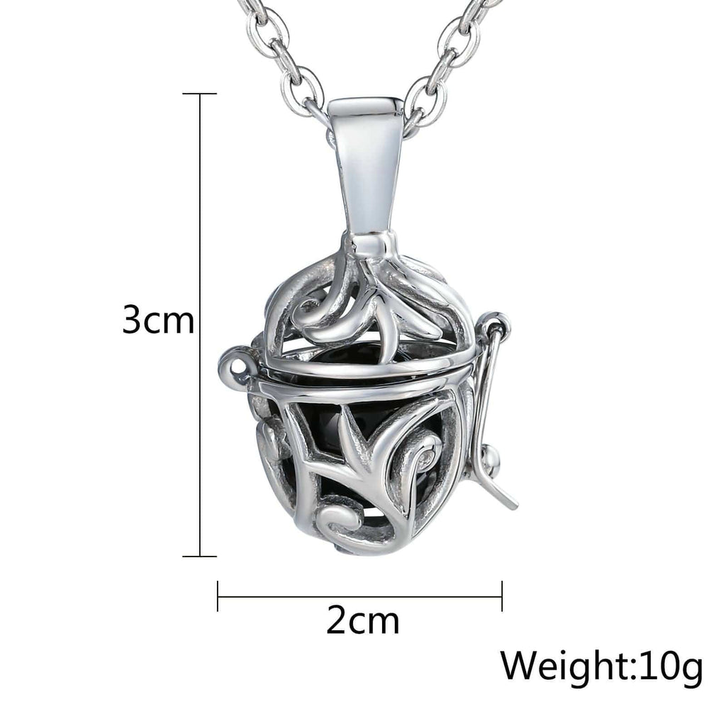 Necklace for Men Stainless Steel Black Hollow Leaf Cover Ball