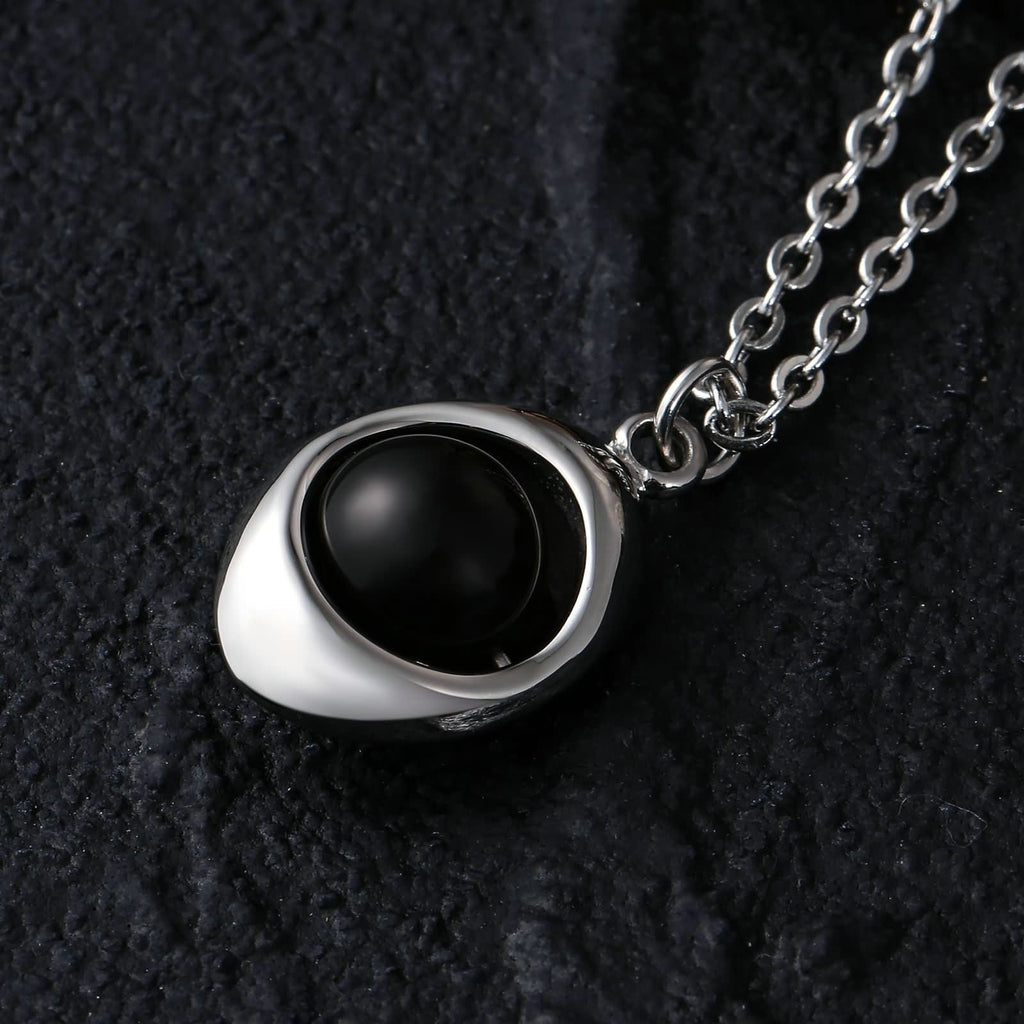 Charm Necklace for Men Stainless Steel Black Rugby Shaped Ball