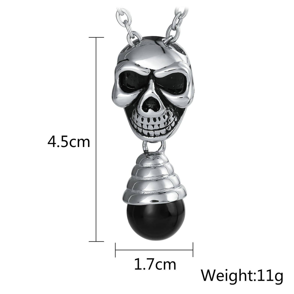 Necklace for Men Stainless Steel Black Skull Pendant with Bulb