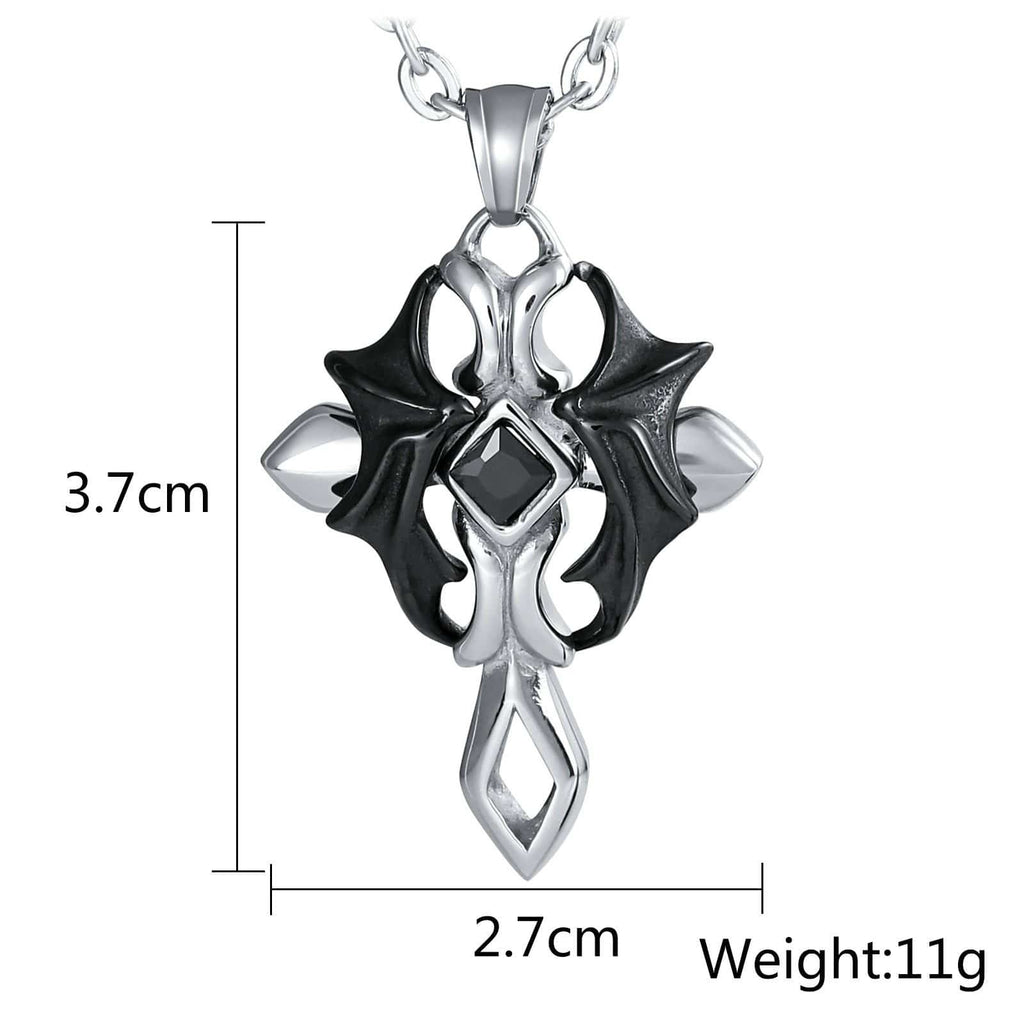 Necklace for Men Stainless Steel Black Wing Cross with Stone