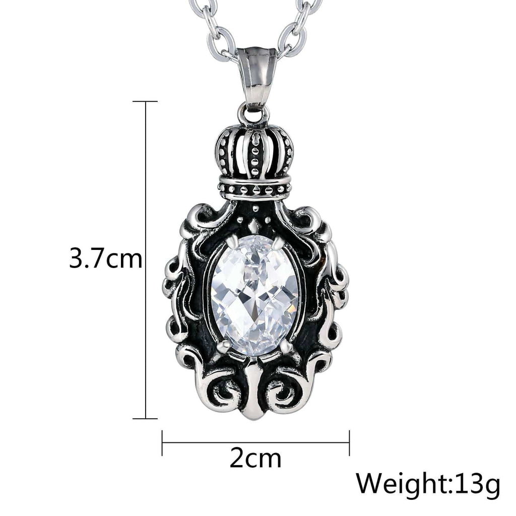 Women Necklace Stainless Steel White Crown Flower with Oval CZ