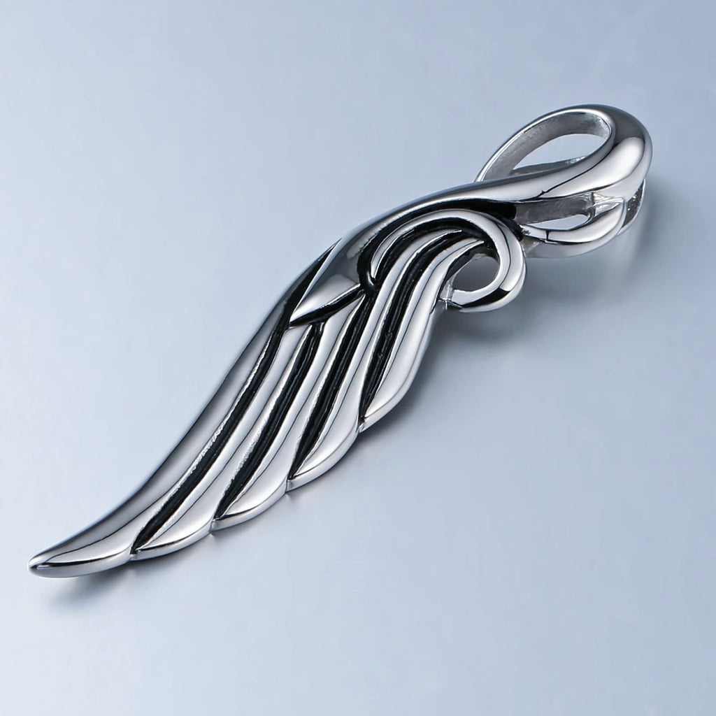 Necklace for Men Stainless Steel Silver Single Feather