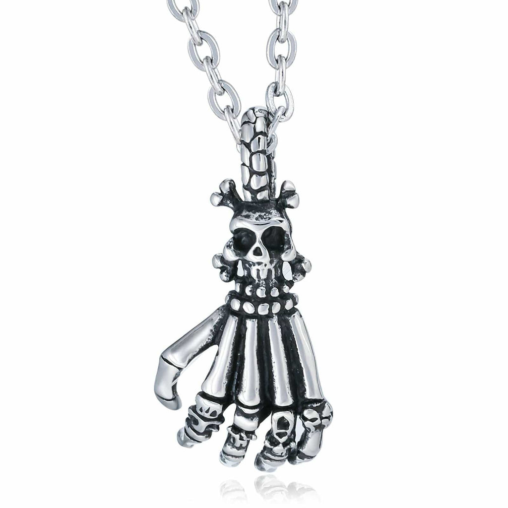 Pendant Necklace for Men Stainless Steel Silver Skull Claw