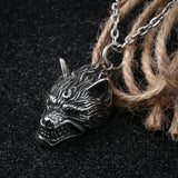 Pendant Necklace for Men Stainless Steel Silver Wolf Head