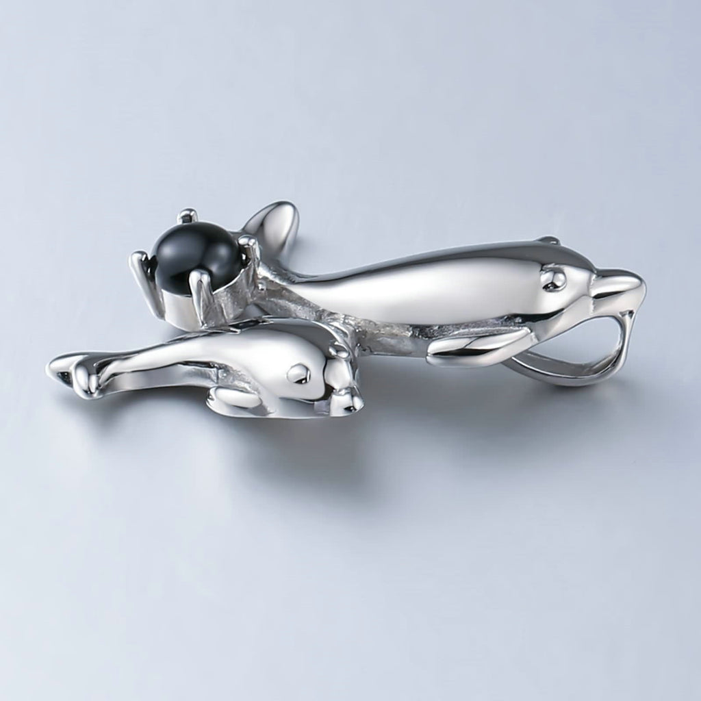 Women Necklace Stainless Steel Silver Double Dolphin Played Ball