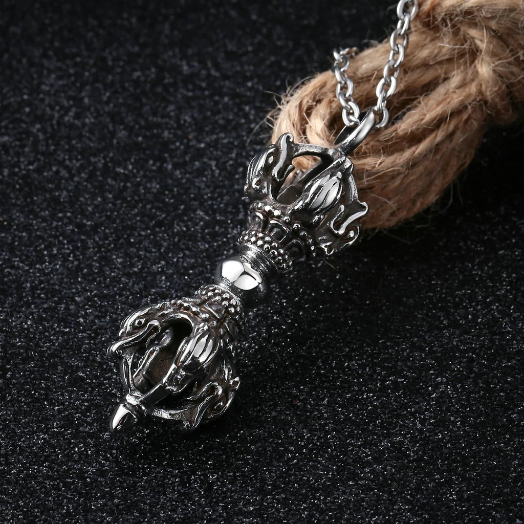 Necklace for Men Stainless Steel Silver Double Crown Staff
