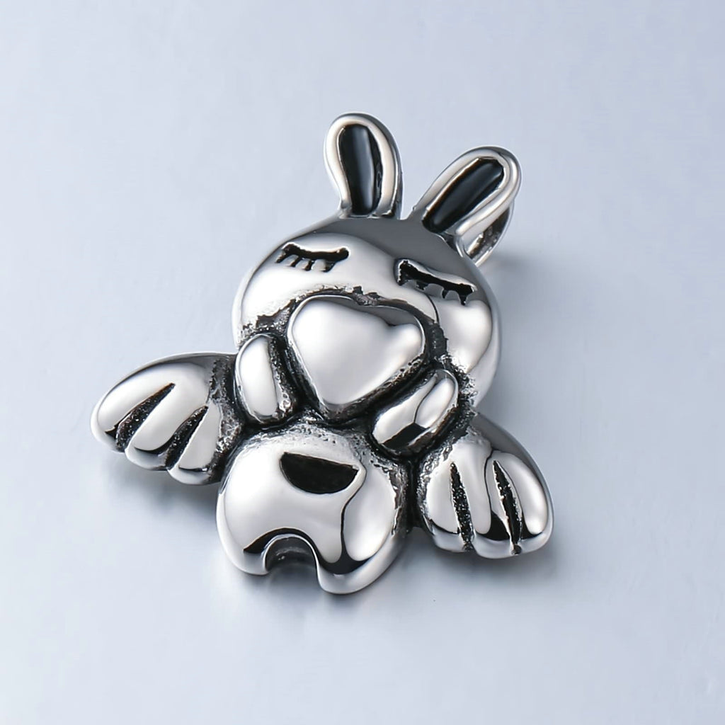 Charm Necklace for Men Stainless Steel Silver Rabbit Heart
