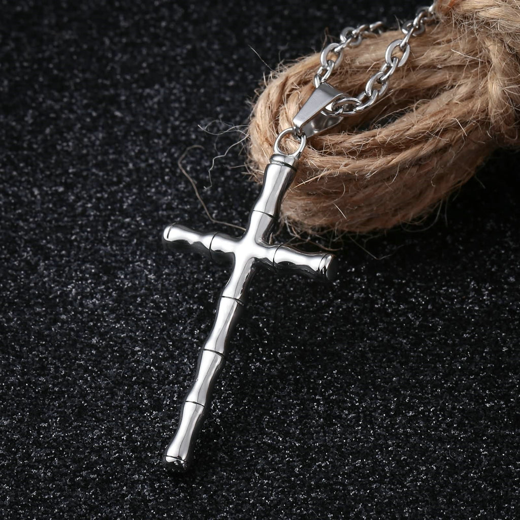 Necklace for Men Stainless Steel Silver Bamboo Cross