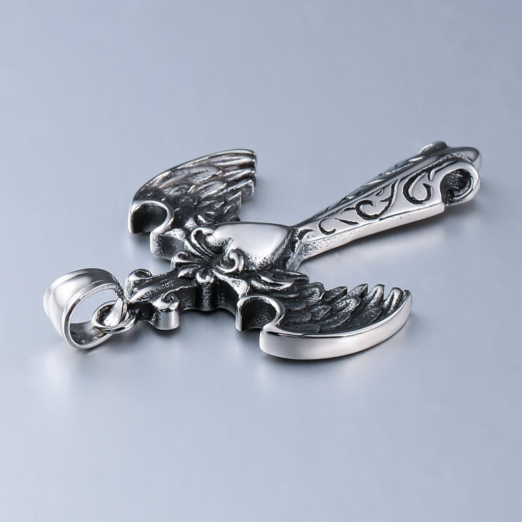 Charm Necklace for Men Stainless Steel Silver Cross Wings Heart