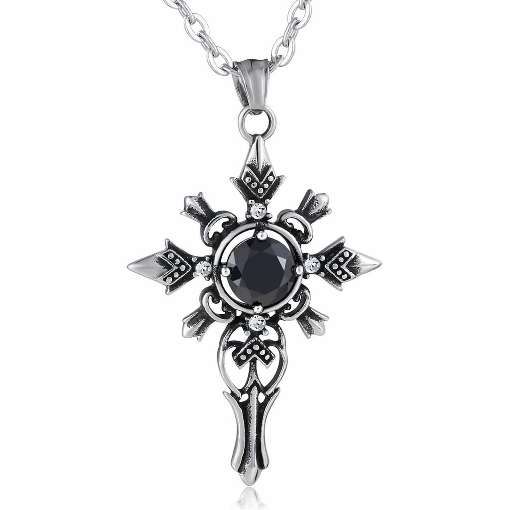 Necklace for Men Stainless Steel Black Cross with Black Opal