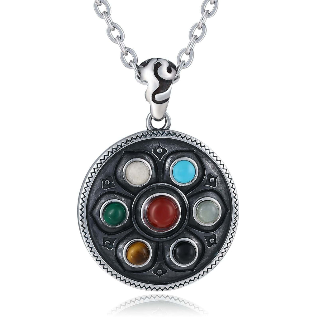 Necklace for Men Stainless Steel Round Shield Multicolor Opals