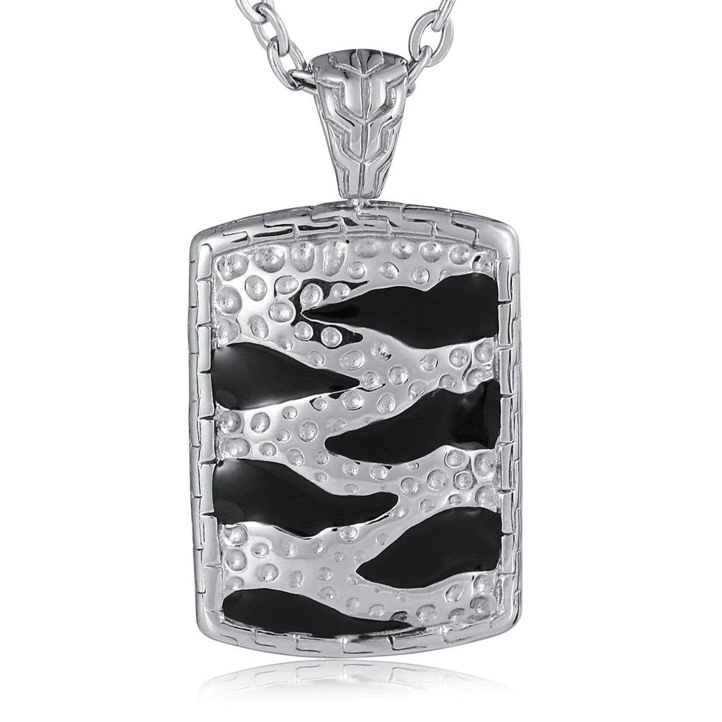 Pendant Necklace for Men Stainless Steel White Square with Totem