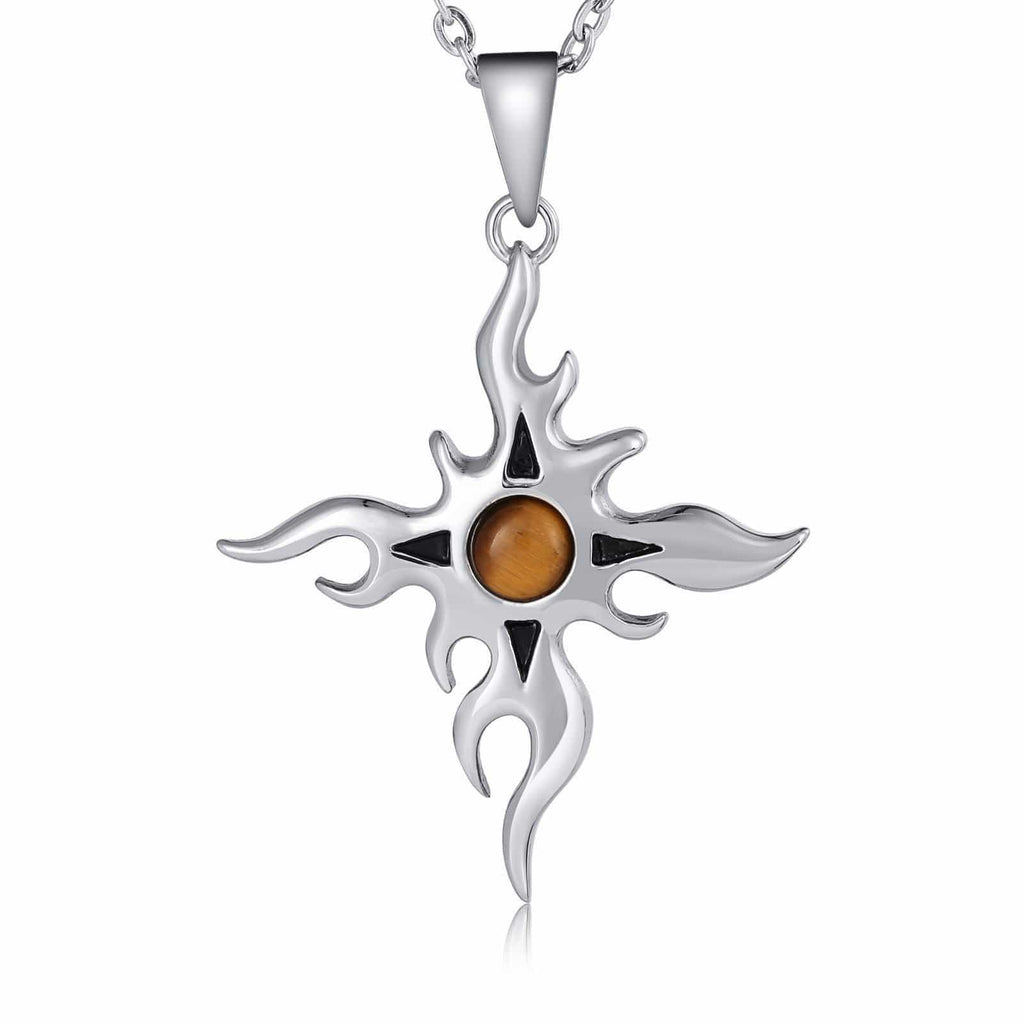 Women Necklace Stainless Steel Black Sun with Black Opal