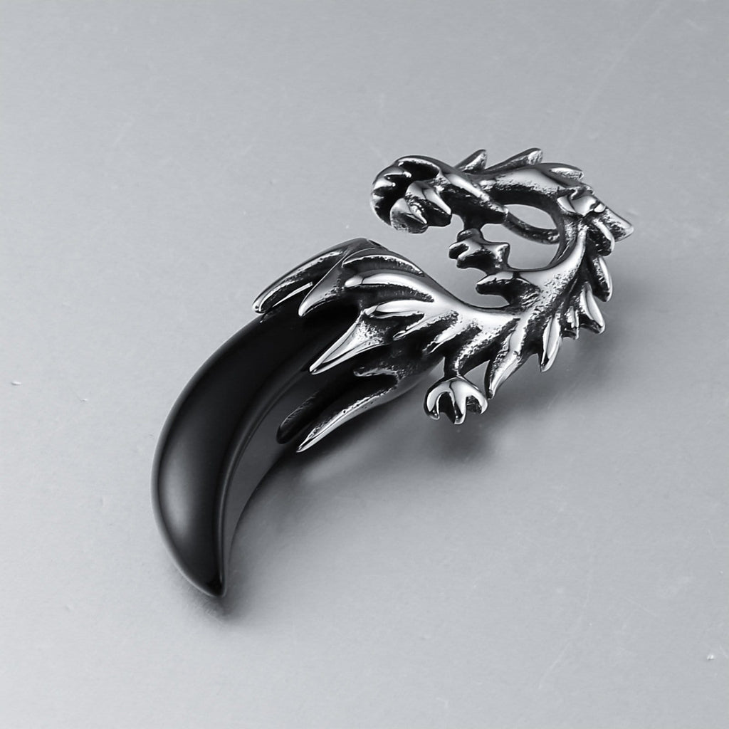 Women Necklace Stainless Steel Black Dragon with Black Zirconia