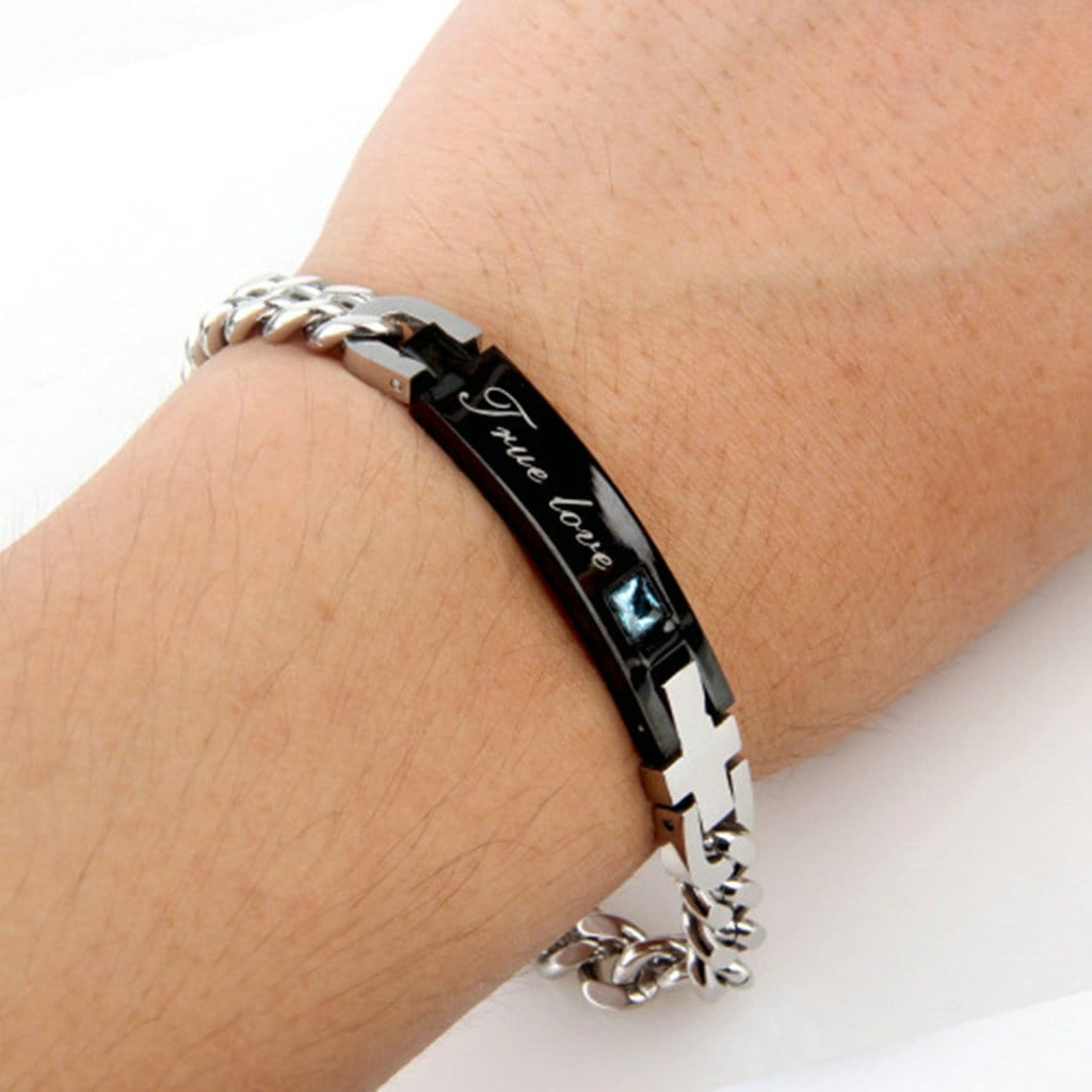 Stainless Steel Mens Womens Bracelet Retro True Love Zircon Couple Charm Bracelets Free Engraving