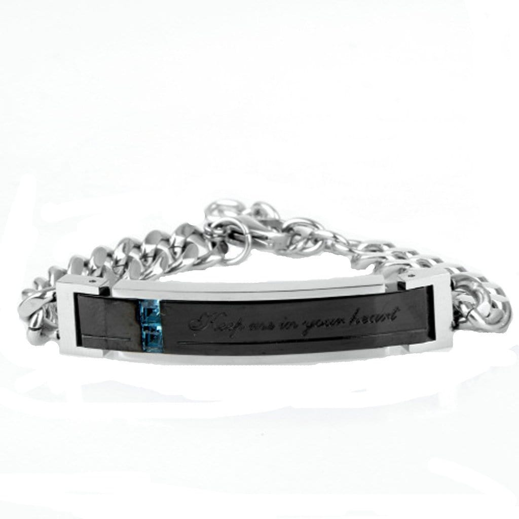 Couple Bracelet for Her And Her Stainless Steel Retro Zircon Cz Silver Bracelets Free Engraving