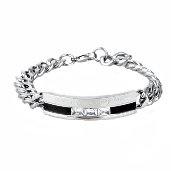 Bangle Jewelry for Couple Stainless Steel Braceletcz Sweetheart Silver Black Charm Bracelets Free Engraving