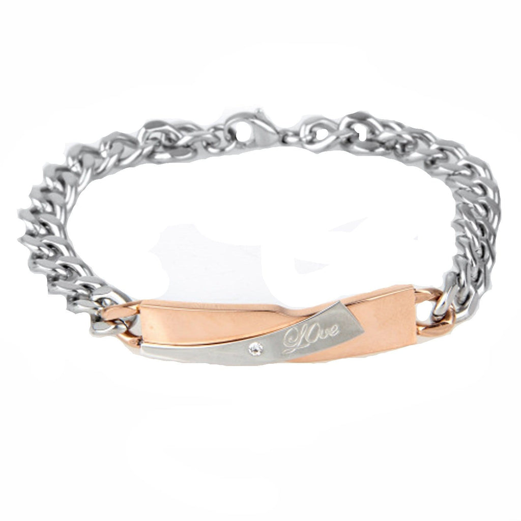 Couple Bracelet Engraving Stainless Steel Cz Love Silver Charm Bracelets