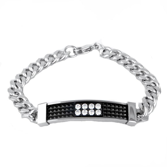 Stainless Steel Bracelet Couple Retro Lattice Cz Charm Bracelets Free Engraving