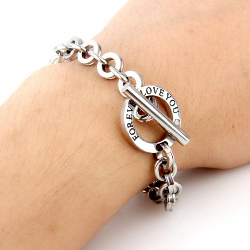 Couple Bracelet Silver Stainless Steel Forever Love You Charm Bracelets