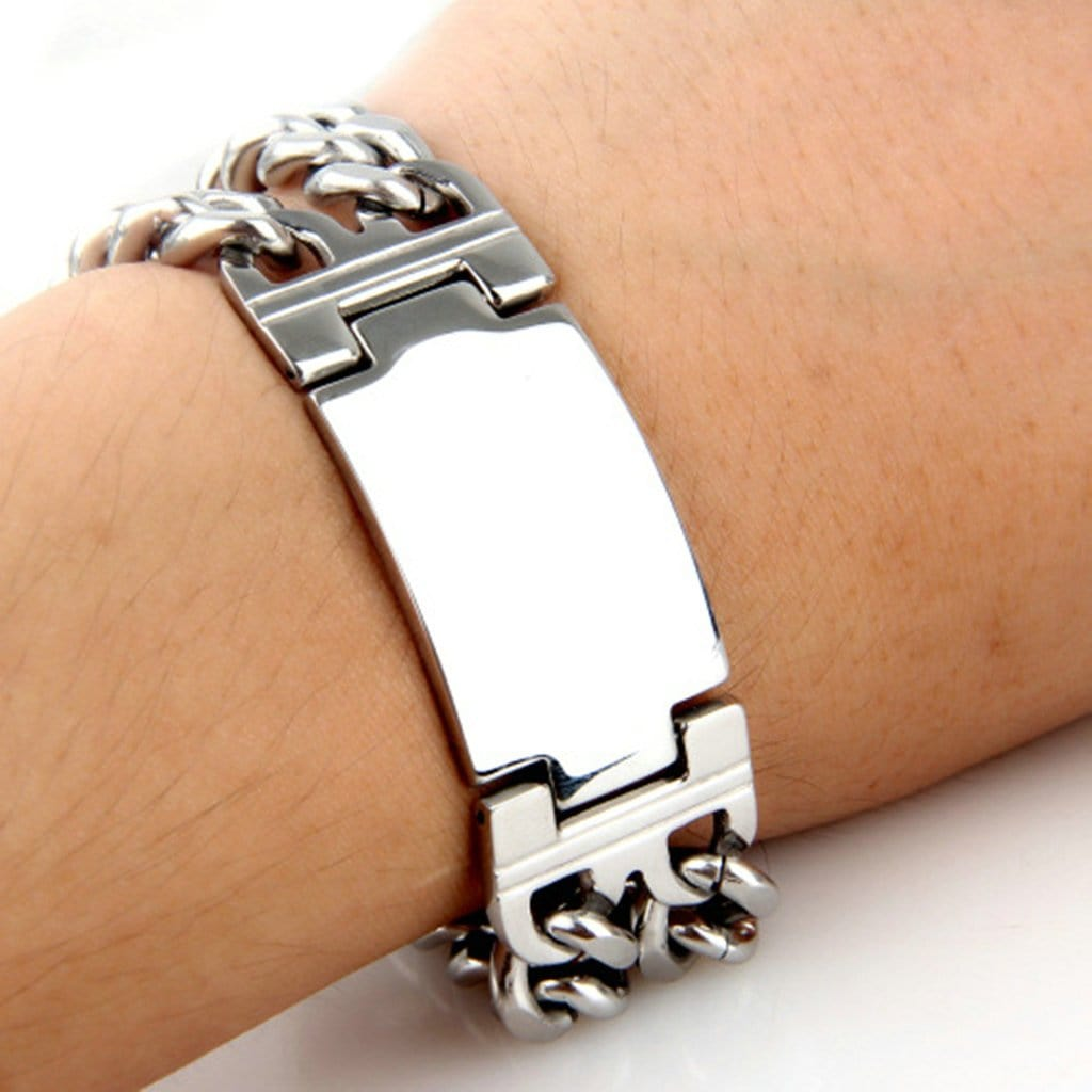 Bangle Jewelry for Men Stainless Steel Braceletpunk Silver Charm Bracelets Free Engraving