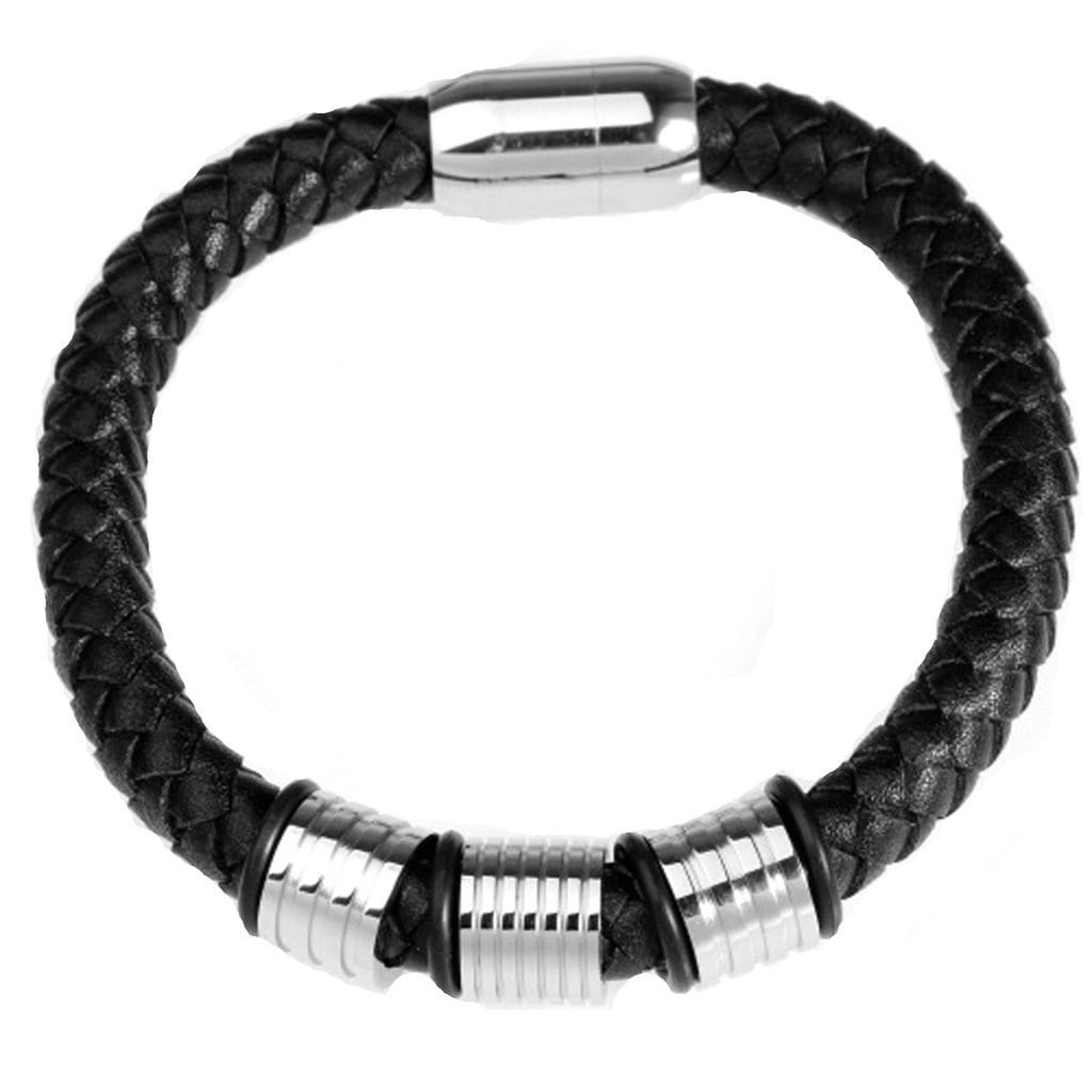 Stainless Steel Mens Leather Bracelet Magnetic Clasp Silver Black Charm Bracelets