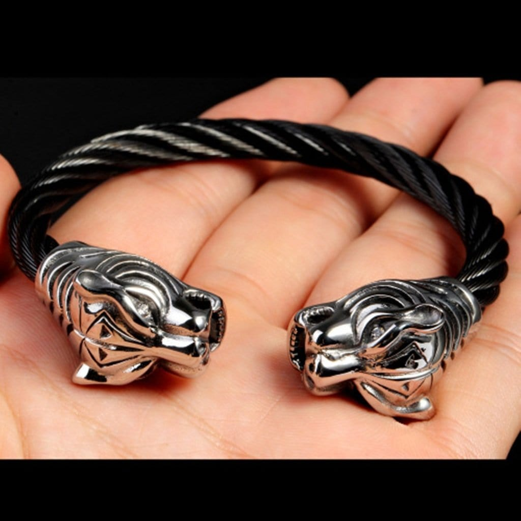 Bangle Jewelry for Men Stainless Steel Braceletpunk Feral Tiger Silver Charm Bracelets