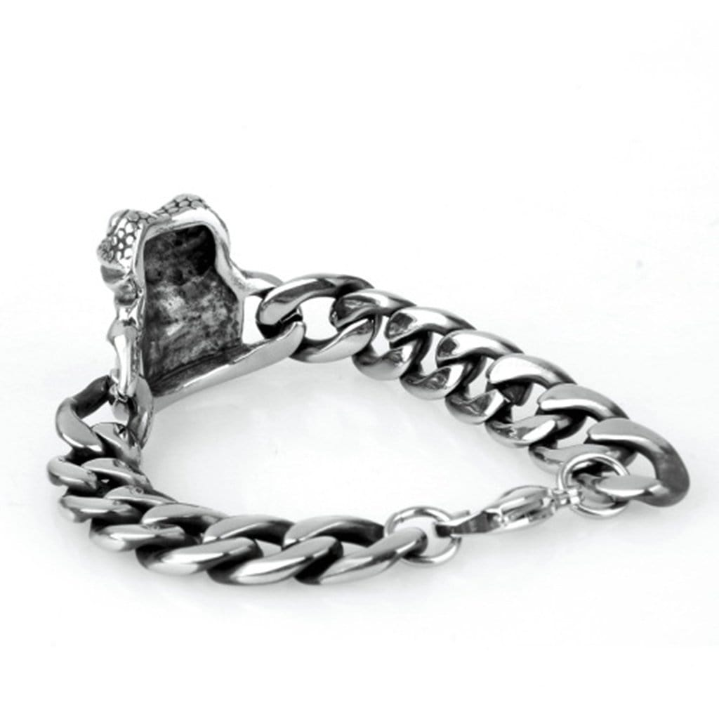 Bangle Bracelet for Men Stainless Steelpunk Lucky Frog Silver Charm Bracelets