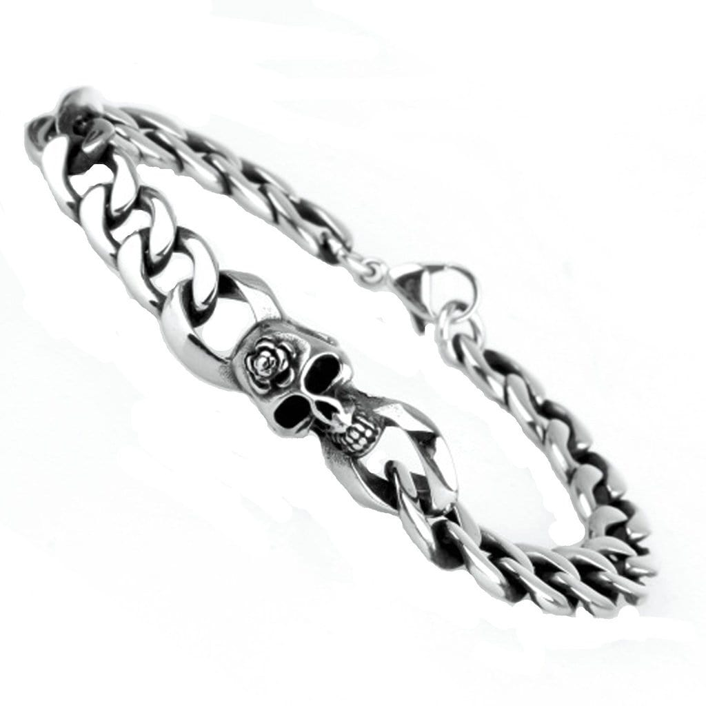 Bangle Bracelet for Men Stainless Steelskull Silver Charm Bracelets