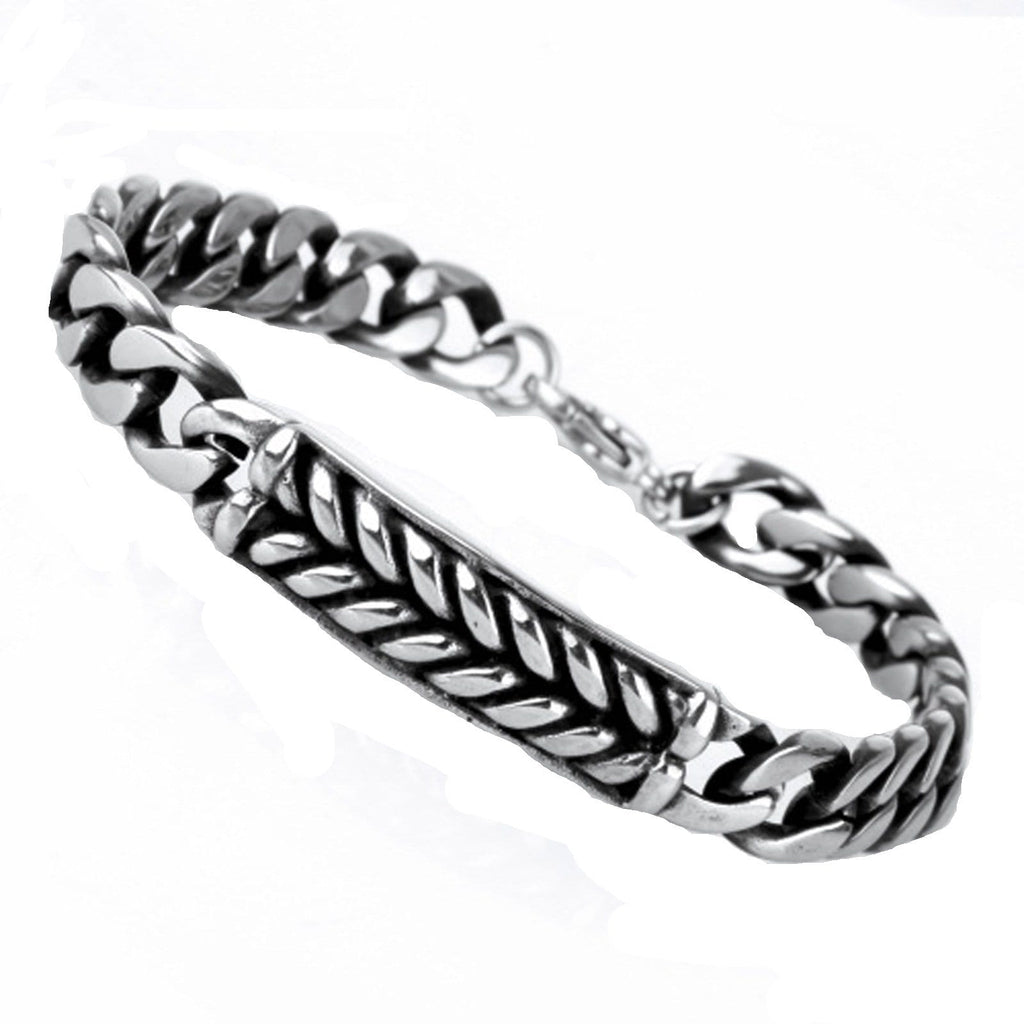 Bangle Bracelet for Men Stainless Steelpunk Leaf Silver Charm Bracelets