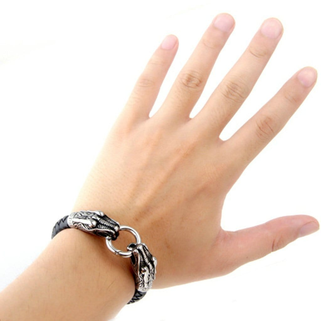 Stainless Steel Mens Leather Bracelet Dragon Head Silver Charm Bracelets
