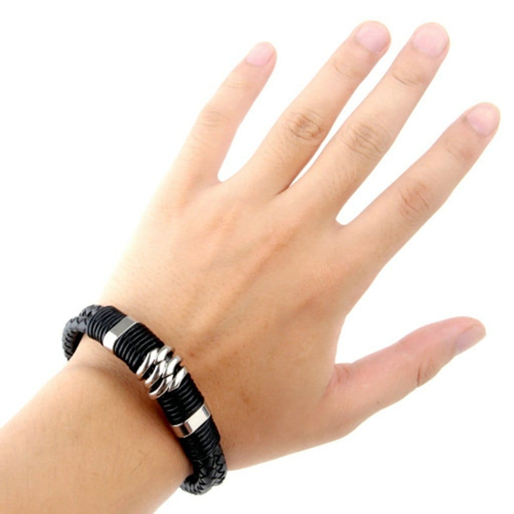Stainless Steel Mens Leather Bracelet Punk Woven Black Charm Bracelets