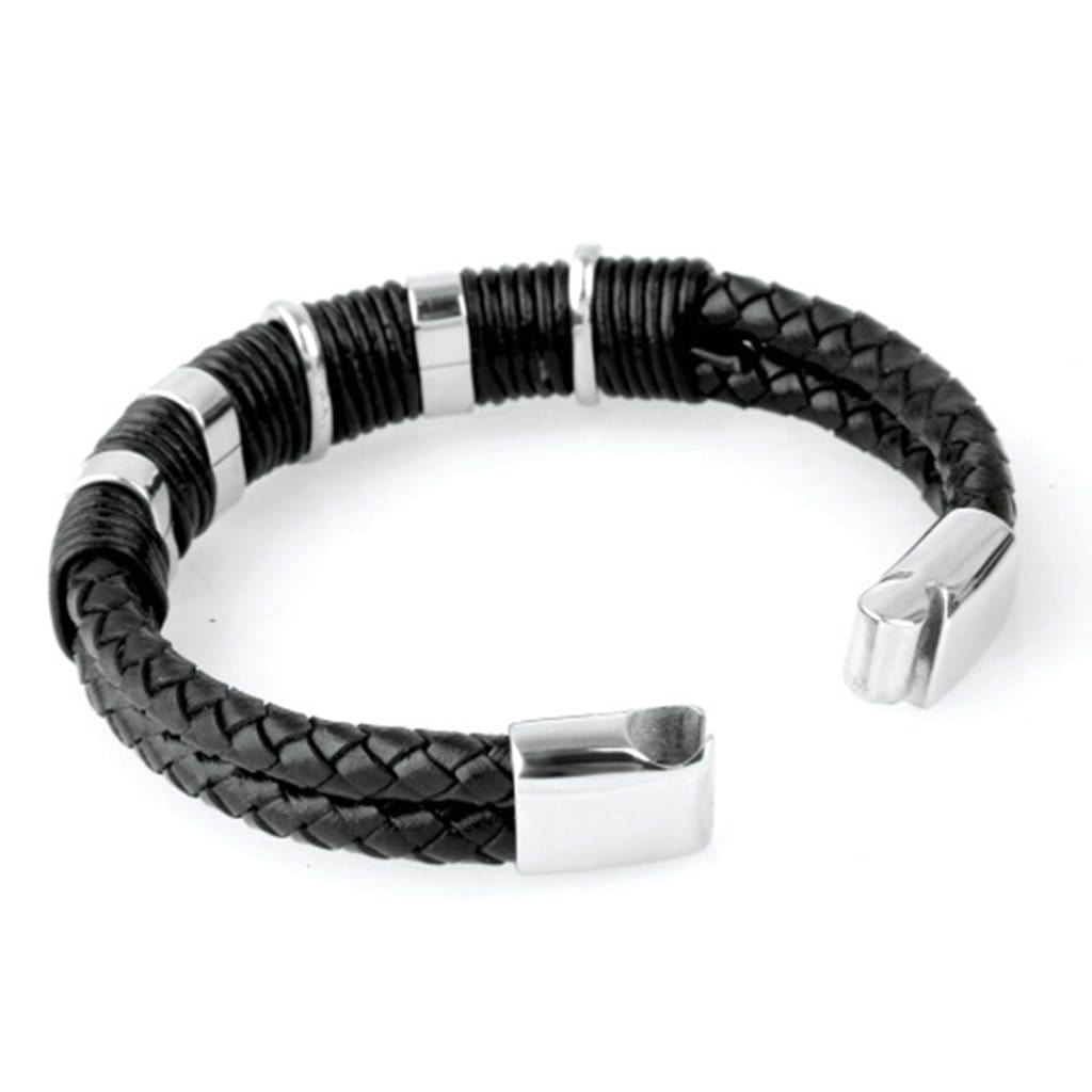 Stainless Steel Mens Leather Bracelet Woven Leather Black Charm Bracelets
