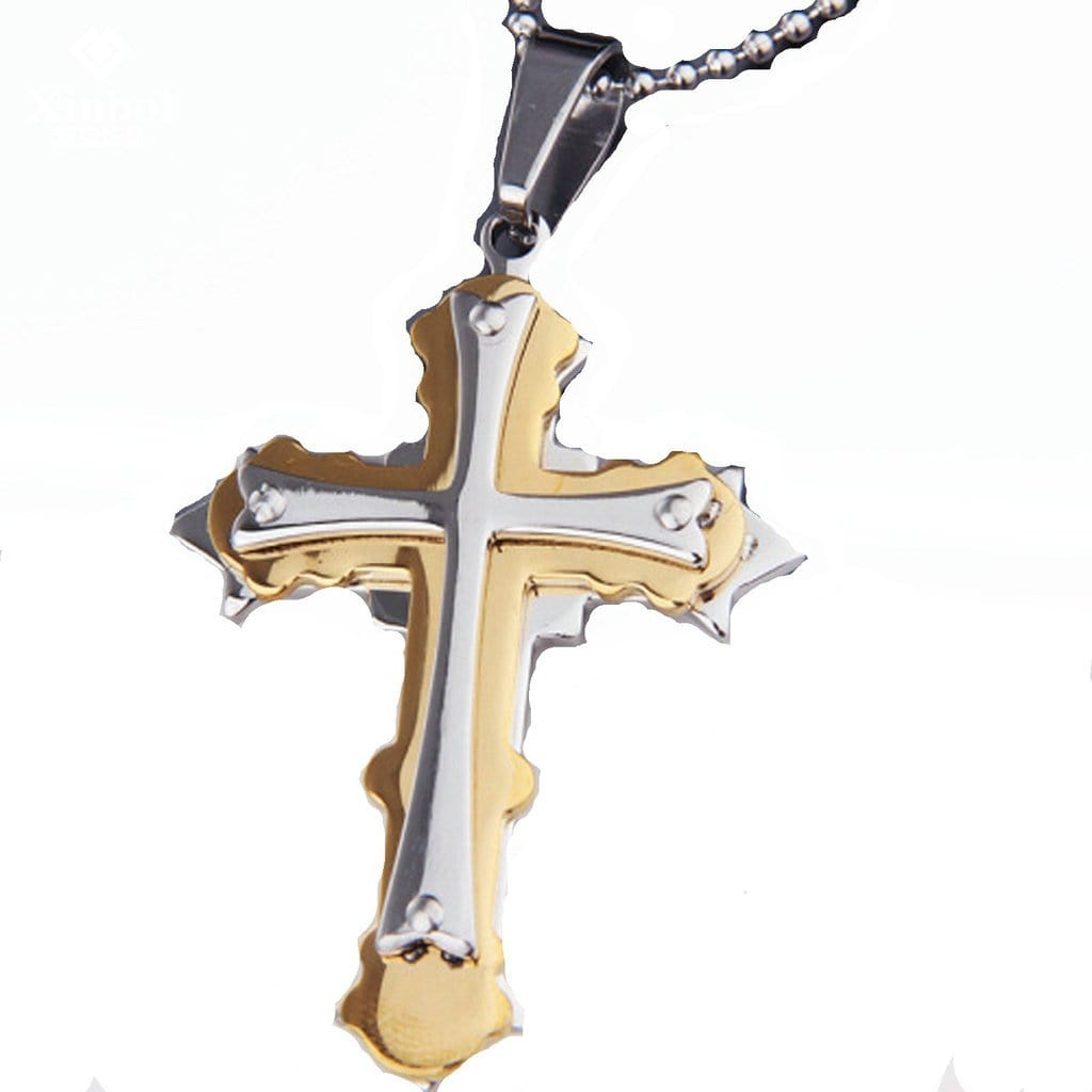 Stainless Steel Mens Three Layer Cross Pendant Necklace Fashion Silver Chain Link