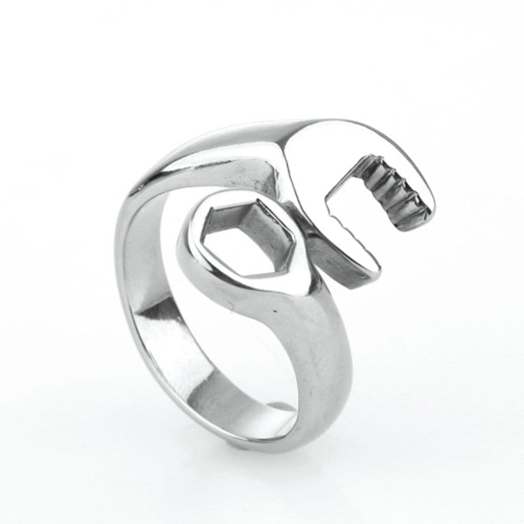 Stainless Steel Mens Ring Retro Wrench Silver Free Engraving