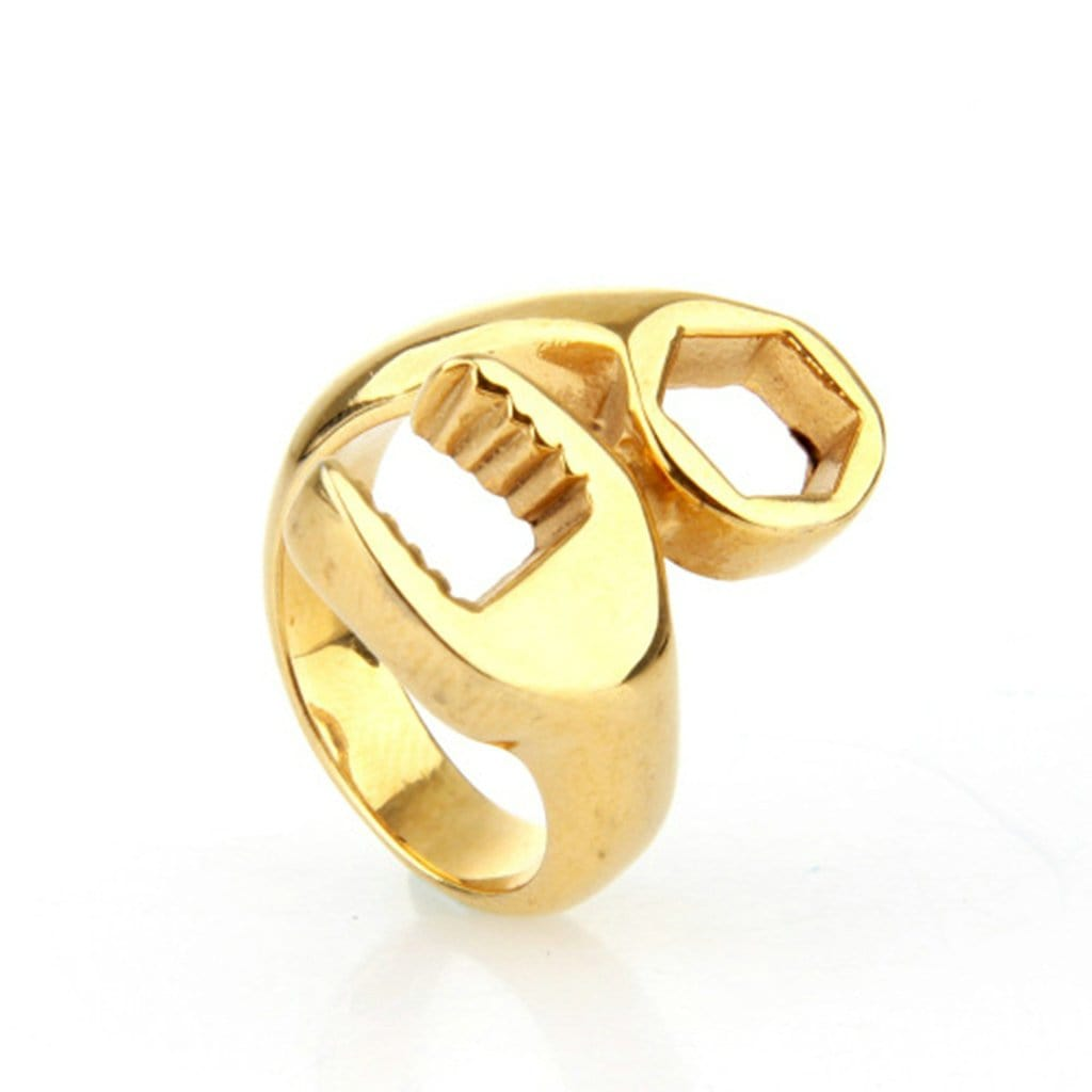 Stainless Steel Mens Ring Retro Wrench Gold Free Engraving