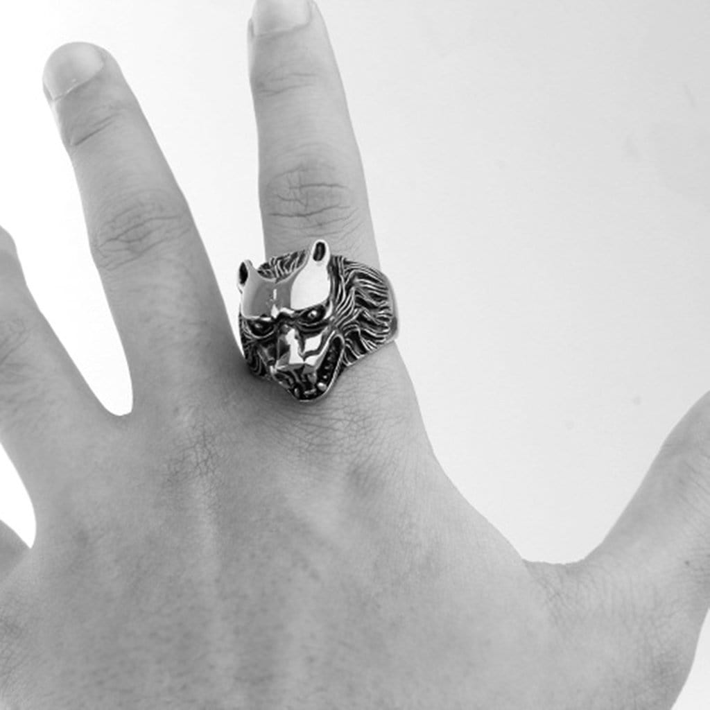 Stainless Steel Mens Ring Retro Rock Wolf Head Silver Free Engraving