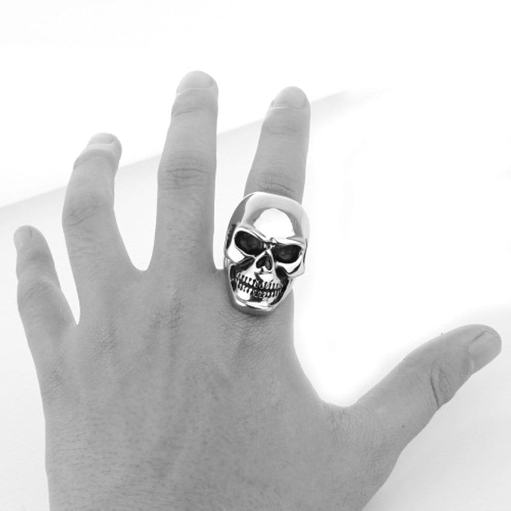 Stainless Steel Mens Ring Retro Punk Skull Silver Free Engraving