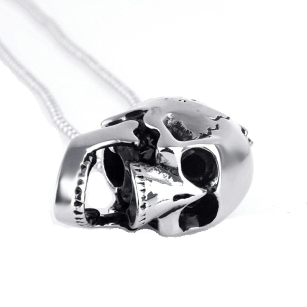 Stainless Steel Mens Open Mouth Skull Pendant Necklace Fashion Silver Chain Link