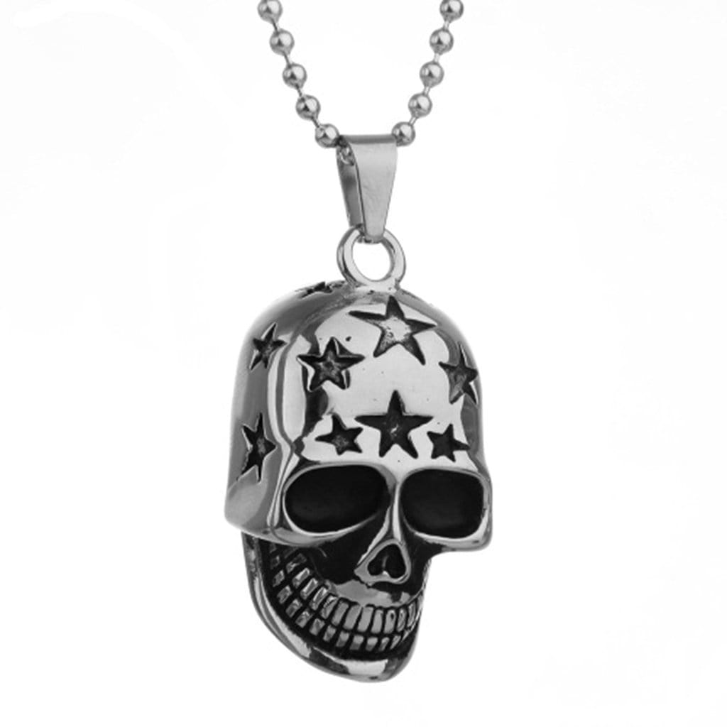 Stainless Steel Mens Stars Skull Pendant Necklace Fashion Silver Chain Link