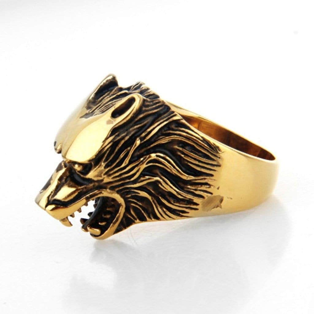 Stainless Steel Mens Ring Retro Rock Wolf Head Gold Free Engraving