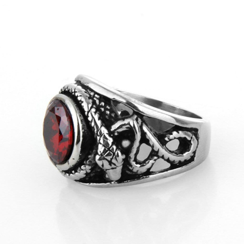 Stainless Steel Mens Ring Punk Retro Red Cz Snake Free Engraving