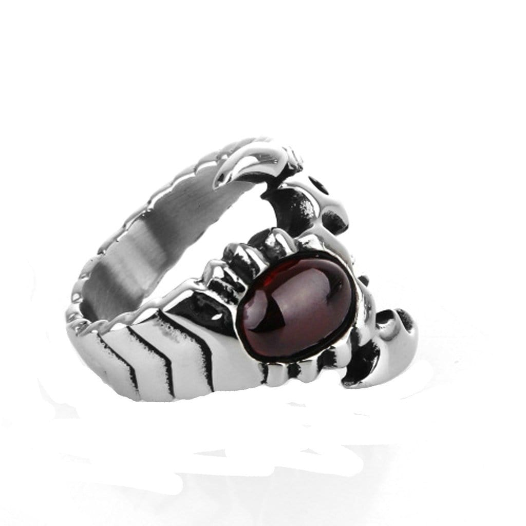 Stainless Steel Mens Ring Punk Cz Cross Scorpion Silver Free Engraving