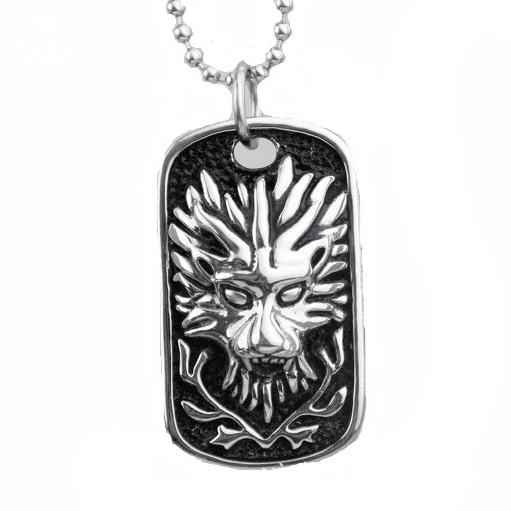 Stainless Steel Mens Necklace Vintage Silver Dragon Pendant Silver Charm Necklaces