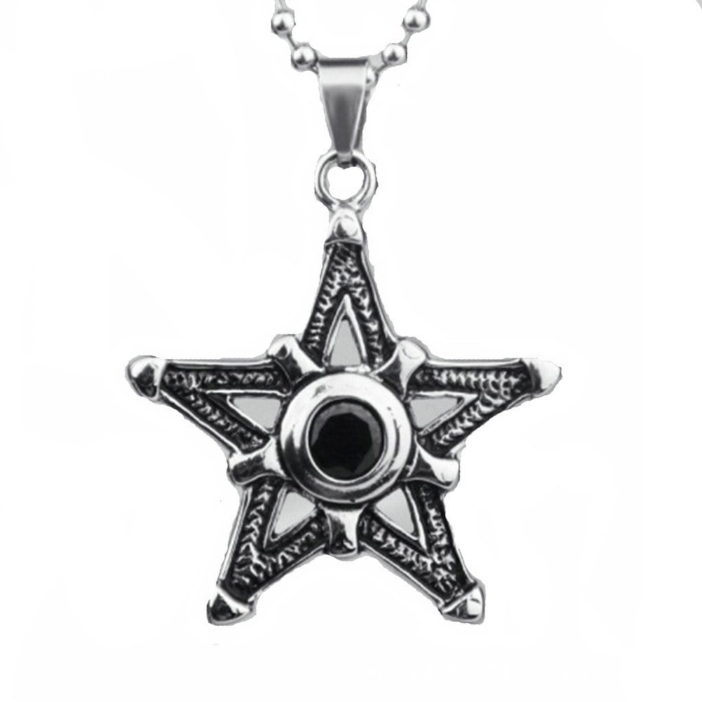 Stainless Steel Mens Necklace Retro Cz Pentagram Pendant White Silver Charm Necklaces